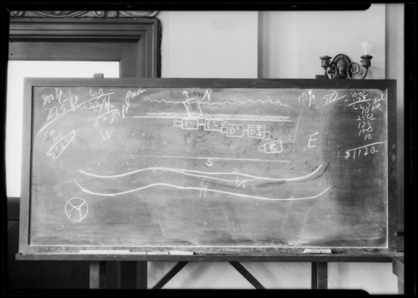 Blackboard, Department 13 Hall of Records, Southern California, 1932