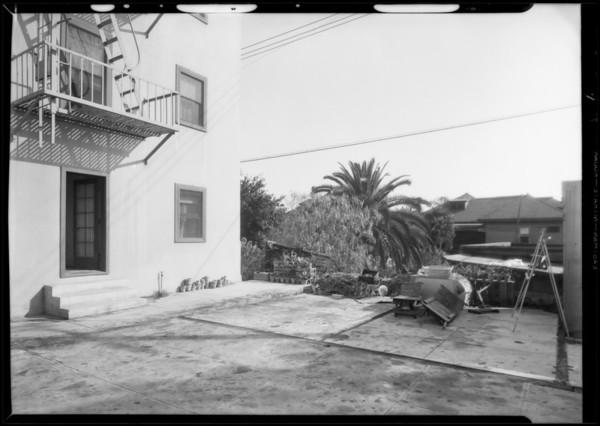 Bacher Hotel vs. Braun, views of rear of hotel, Southern California, 1932
