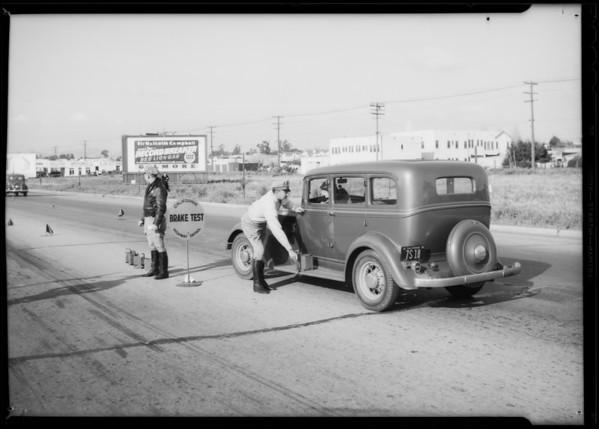 Cops testing brakes, Southern California, 1935