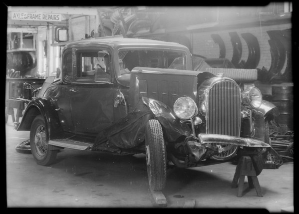 Buick coupe, license number 3T6327, belonging to Ben Coplan, assured, Southern California, 1932
