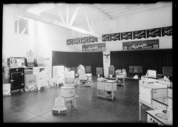 Trucks, display room and building, Los Angeles, CA, 1932