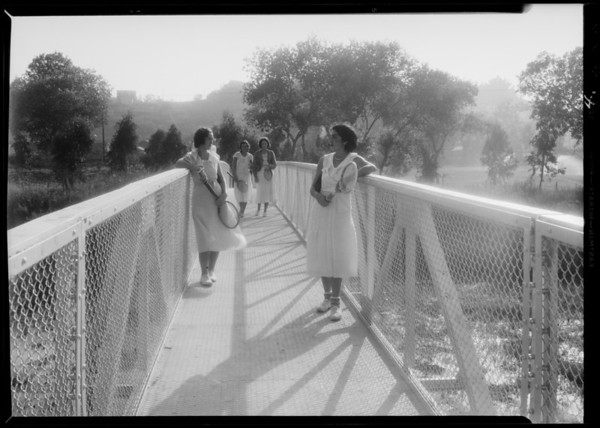 Bridge, community building, Griffith Park, and construction, North Hollywood, Los Angeles, CA, 1932