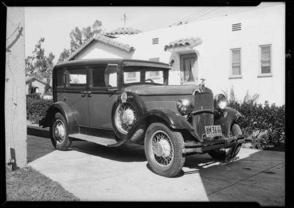 Intersection of Broadway & California Avenue, Dodge belonging to Elmer Brock, Huntington Park, CA, 1932