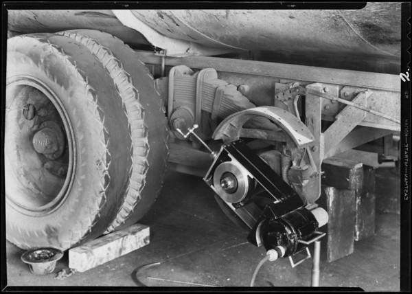 Brake sanding machine & interior, 1133 South Olive Street, Los Angeles, CA, 1932