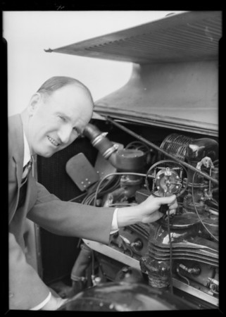 Earl Cooper & microphone, Southern California, 1932
