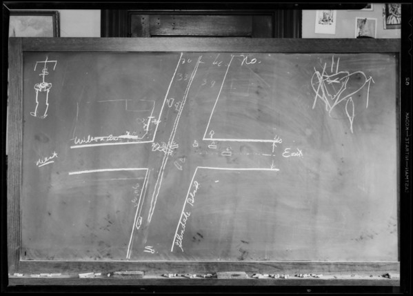 Blackboard in Superior Court, Department 5, Holmes vs. Roller, Southern California, 1932