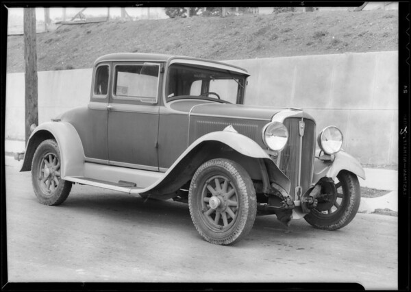 Studebaker coupe, Oscar Grant owner, Southern California, 1933