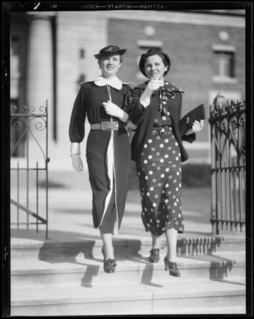 Girls walking, Bullock's, Southern California, 1935