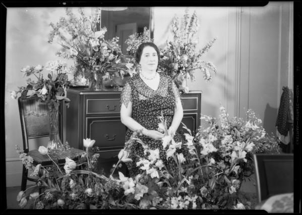 Mrs. Zillman & flowers, Los Angeles, CA, 1932