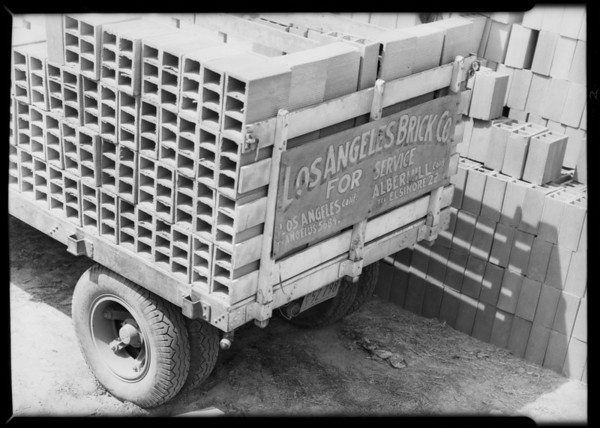 Los Angeles Brick Company truck, Southern California, 1932