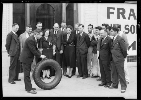 Publicity for opening of new tire store, Southern California, 1932