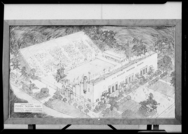 Sketch of Olympic pool, Southern California, 1932