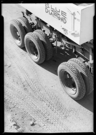 Blue Diamond tractor, Pathfinder tires, Southern California, 1932