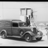 Dodge truck publicity at Hermosa life guard stations, Hermosa Beach, CA, 1934