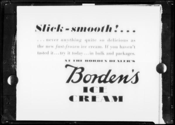 Slick-smooth advertisement, Borden's Ice Cream, Southern California, 1932