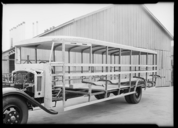 Bus home under construction, Southern California, 1932