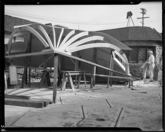 """Building """"Globe of World"""" for Dole Pineapple, Southern California, 1935"""