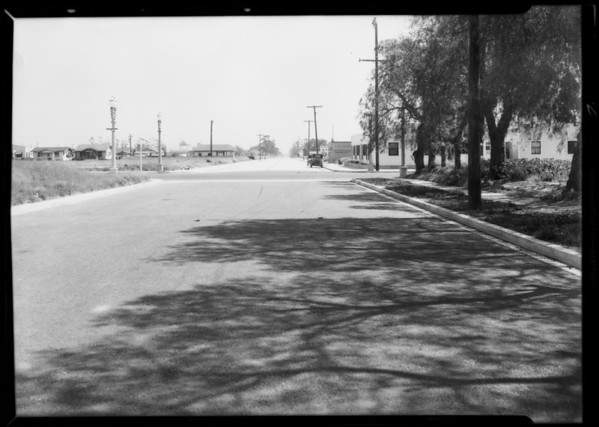 Intersection of North Wilmington Boulevard and West F Street, Ford sedan, Wilmington, Los Angeles, CA, 1932