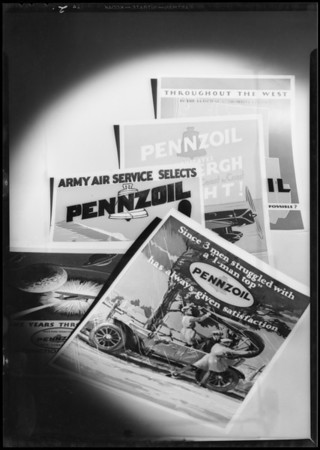 Pennzoil signs, rack, chart, Southern California, 1932