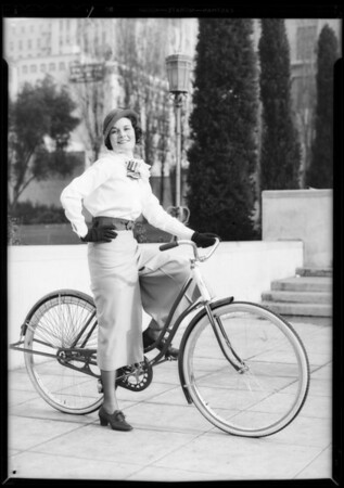 Bicycle riding habit, Southern California, 1932