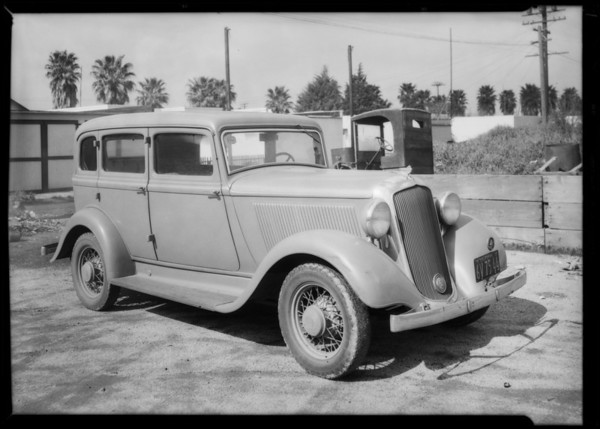 Plymouth sedan, Theodore Weiner owner & assured, Southern California, 1935