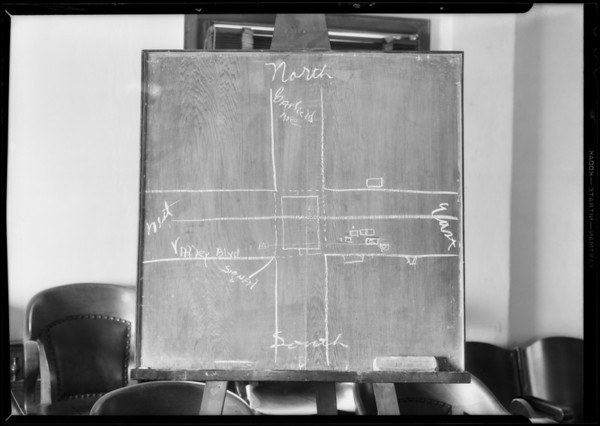 Blackboard showing intersection of Garfield Avenue and Valley Boulevard, Southern California, 1932