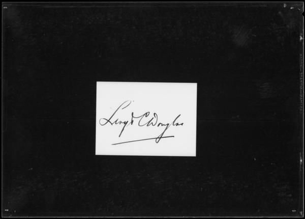Author, Lloyd C. Douglas, Southern California, 1935