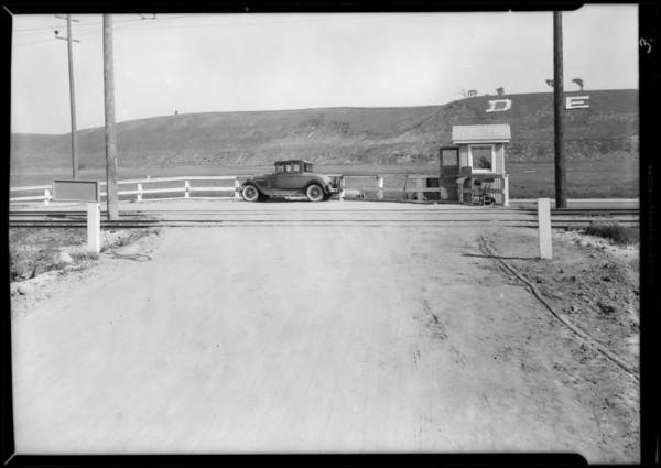 Railroad crossing near Del Rey, Southern California, 1932