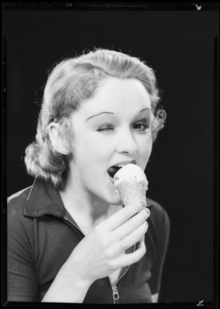 Girl eating ice cream cone (Caryl Lincoln), Southern California, 1932