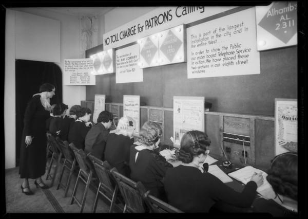 Telephone operators in window, Southern California, 1935