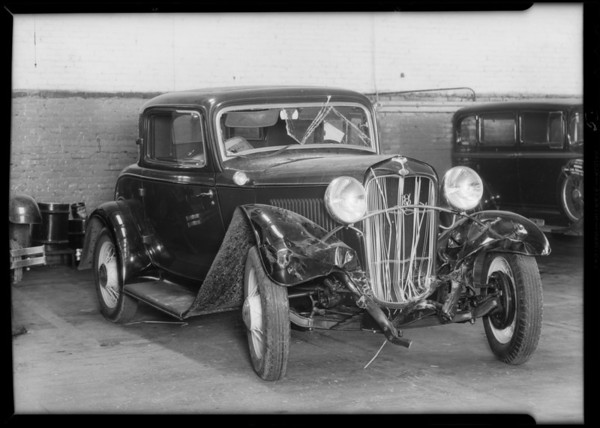 Chevrolet belonging to Mr. Soto Los Nietos and Ford belonging to J.H. Elliott, Whittier, Elliott assured, Southern California, 1932
