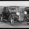 Chevrolet belonging to Mr. Soto Los Nietos and Ford belonging to J.H. Elliott, Whittier, Elliott assured, Southern California, 1932
