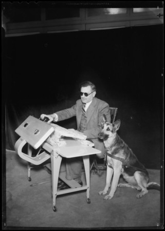 Mr. White & dog at General Electric ironer, Southern California, 1935