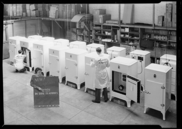 Line up of refrigerators, Southern California, 1932