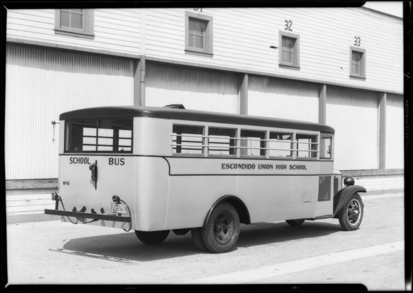 Escondido Union High School bus, Southern California, 1932