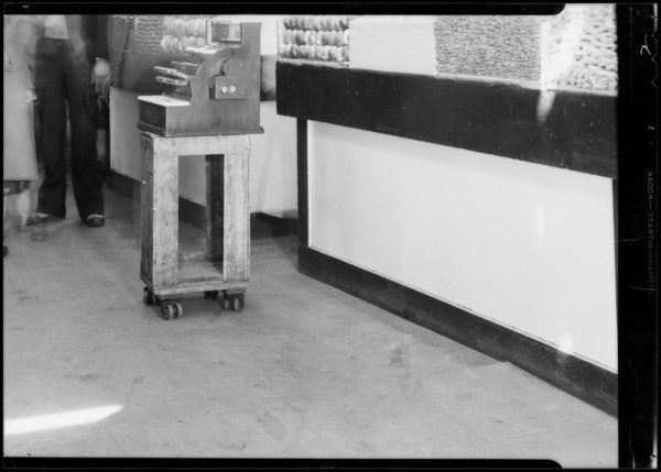 Aisle and dolly in Grand Central Market, 317 South Broadway, Los Angeles, CA, 1932