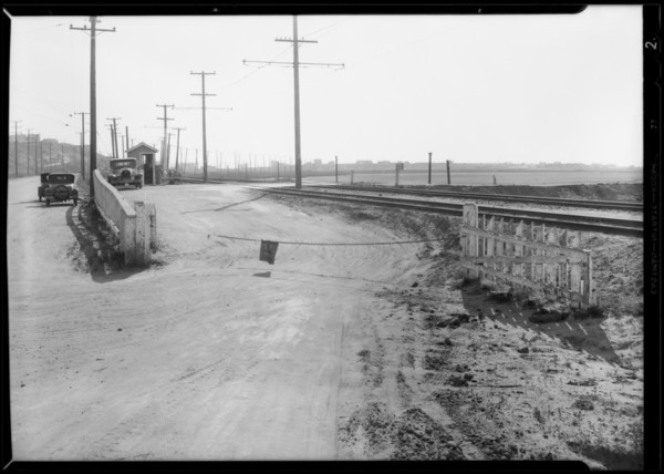 Railroad crossing near Del Rey, Southern California, 1932