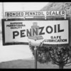 "Signs - ""Bonded Pennzoil Dealer"", Southern California, 1932"