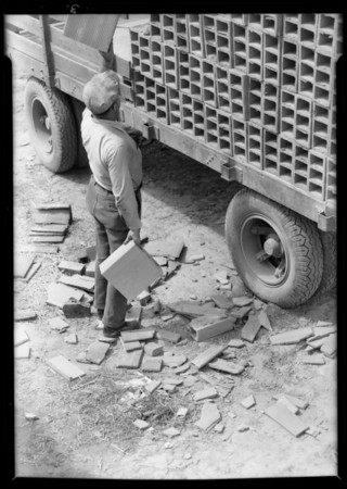 Los Angeles Brick Company truck, Southern California, 1932