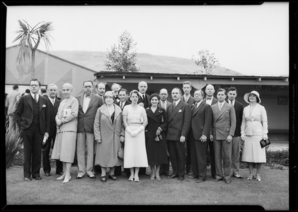Rupert Hughes & French group, Southern California, 1932