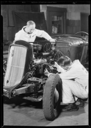 Diesel motors & students, Southern California, 1935