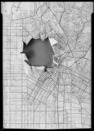 Composite of United Parcel Service & map of city, Southern California, 1932