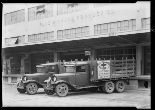 Blue Diamond Produce Co. trucks, Southern California, 1932