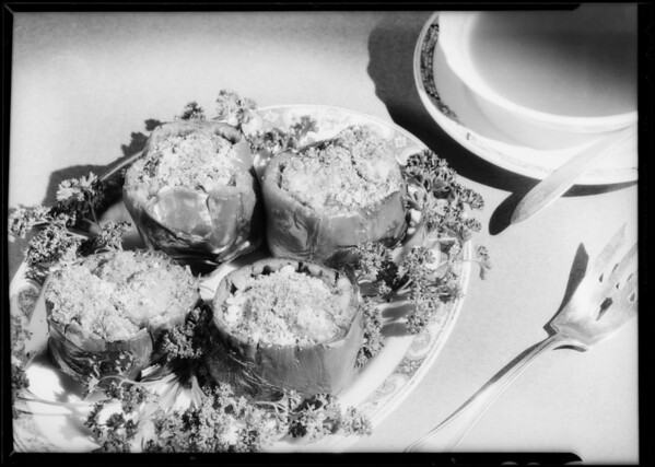 Stuffed bell peppers, Southern California, 1934