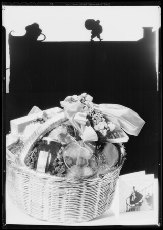 """Fancy packed fruit basket for cover of """"Saturday Night"""", Southern California, 1932"""
