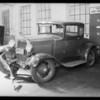 M. Jordan's Ford coupe, Pelligrini garage, Glendale, CA, 1932