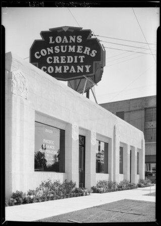 Exterior of Consumers Credit Co. offices, Southern California, 1934