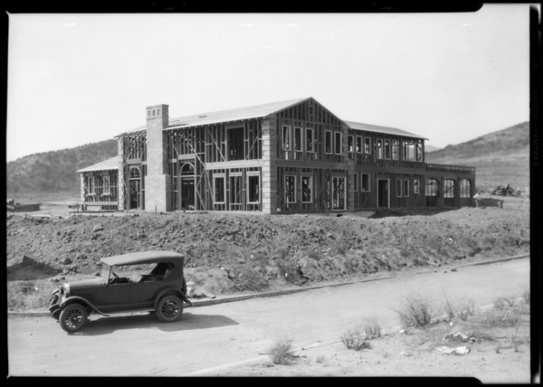 Norton home under construction, Highland Hills, Southern California, 1926
