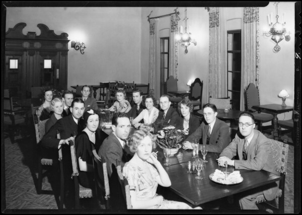 Party at club house, Bel Air Bay Club, Los Angeles, CA, 1932