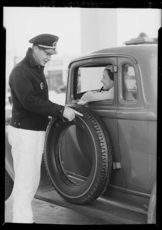 Salesman with Lee tire at 2223 West Florence Avenue, Los Angeles, CA, 1934